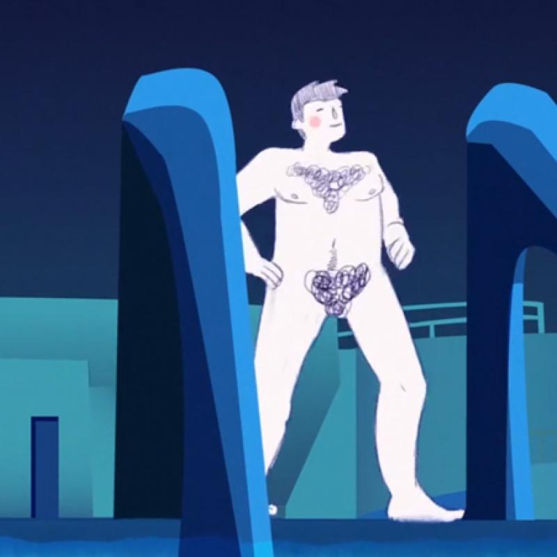 Cartoon of man at the pool