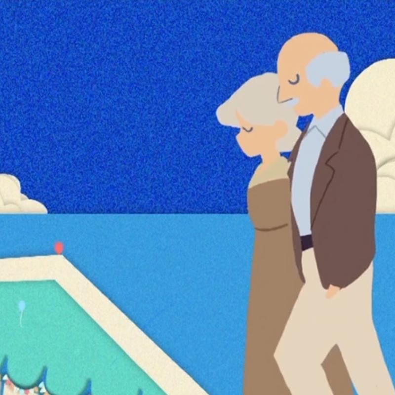 Cartoon people at the pool