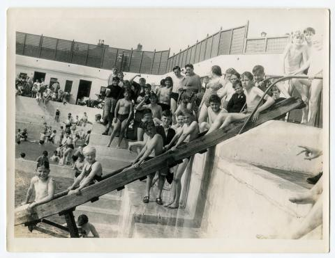 Children on the water chute