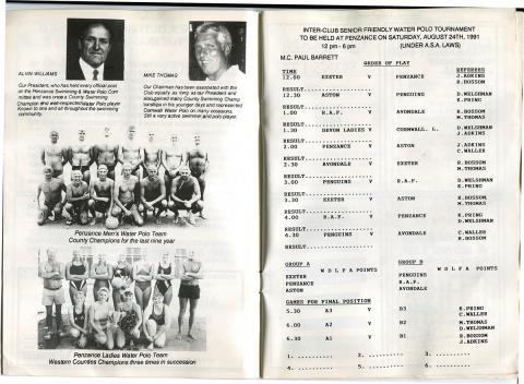 Inside of tournament brochure