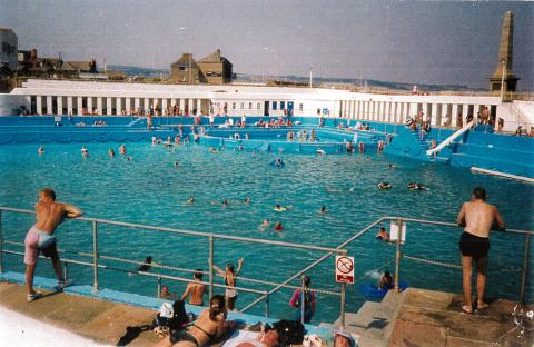 Jubilee Pool enjoyed by bathers on a warm day