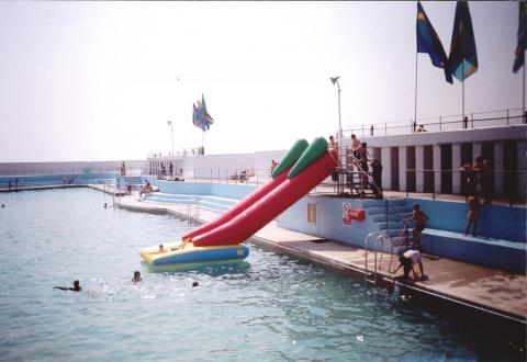 Inflatable water shute at Jubilee Pool