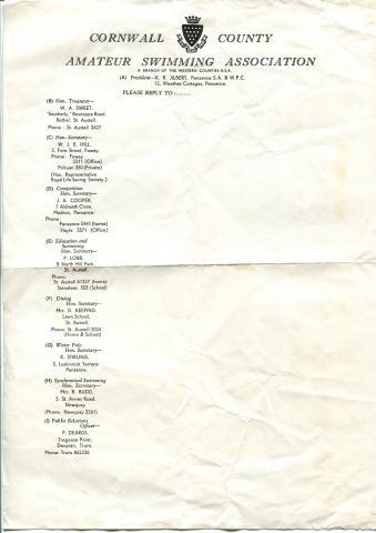 List of Swimming Association officials