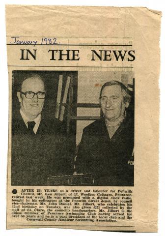 Article commemorating Ken Jilbert's retirement