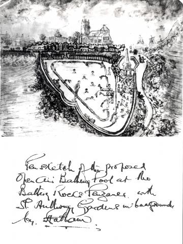 Pen sketch of proposed pool and hadwritten text