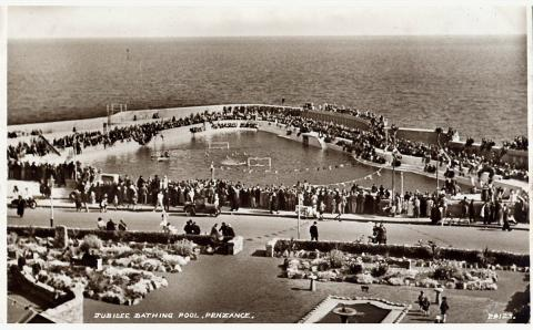 Aerial view of a gala at Jubilee Pool