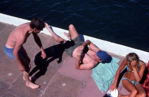 Bathers photographing each other