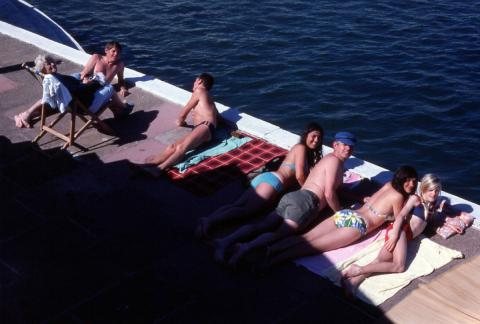Sunbathers photographed from above