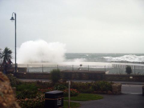 Waves crash over Jubilee Pool