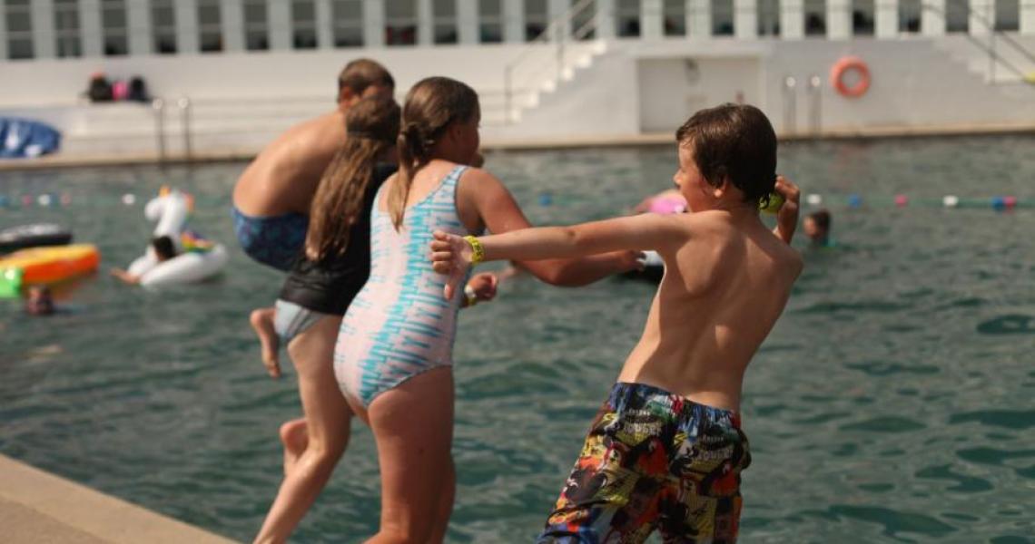 St Madderns kids by pool